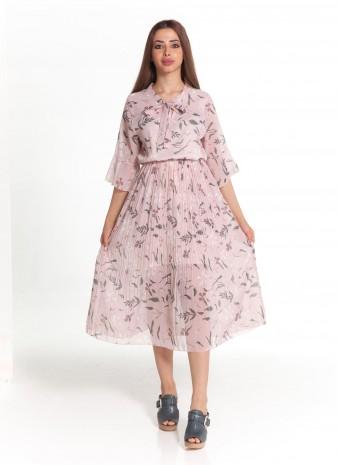 فستان وردي فلورال كم طويل